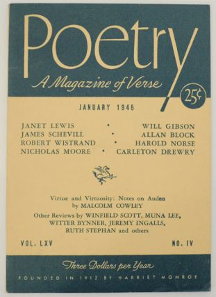 Poetry: A Magazine of Verse January 1945 Vol. LXV No. IV. Peter DE VRIES, Marion Strobel