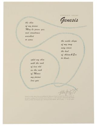 Genesis (Signed Broadside). Etheridge KNIGHT