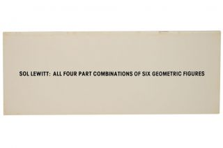 Sol Lewitt: All Four Part Combinations of Six Geometric Figures. Sol LEWITT