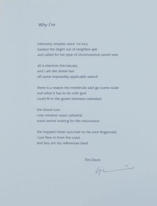 Why I'm (Signed Broadside). Tim DAVIS