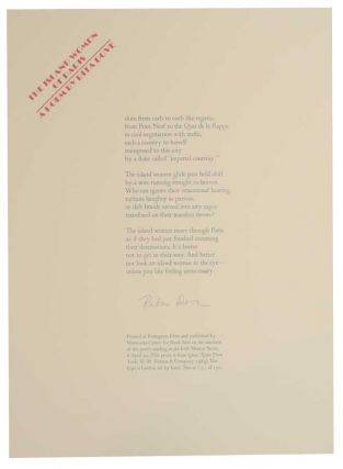 The Island Women of Paris (Signed Broadside). Rita DOVE